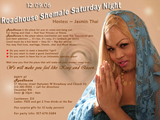 Roadhouse Shemale Saturday Night hosted by Jasmin Thai